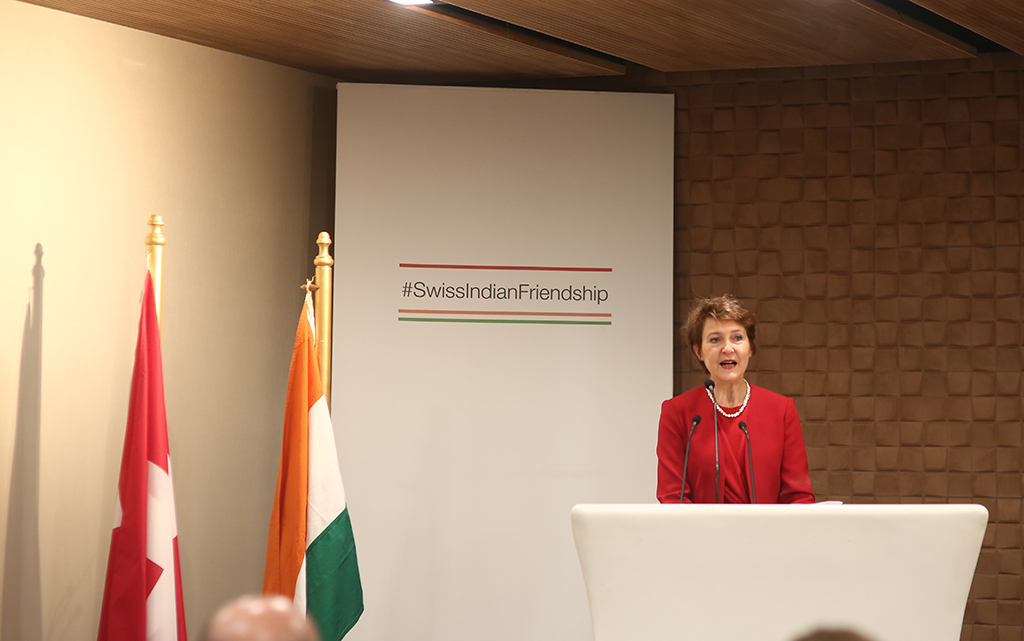 Federal Councillor Simonetta Sommaruga in her speech at a panel discussion in India about Green Financing