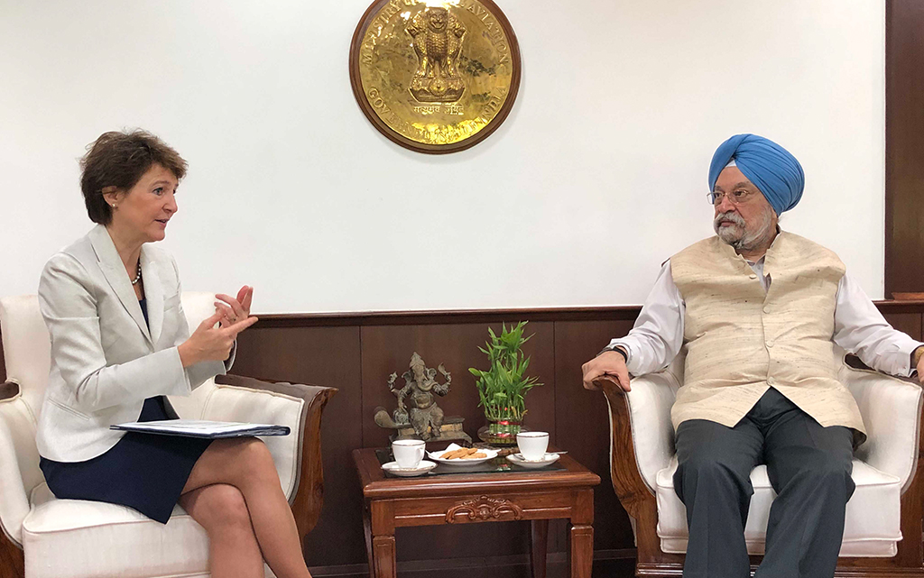 Federal Councillor Sommaruga and Hardeep Singh Puri, Indian Minister of Civil Aviation