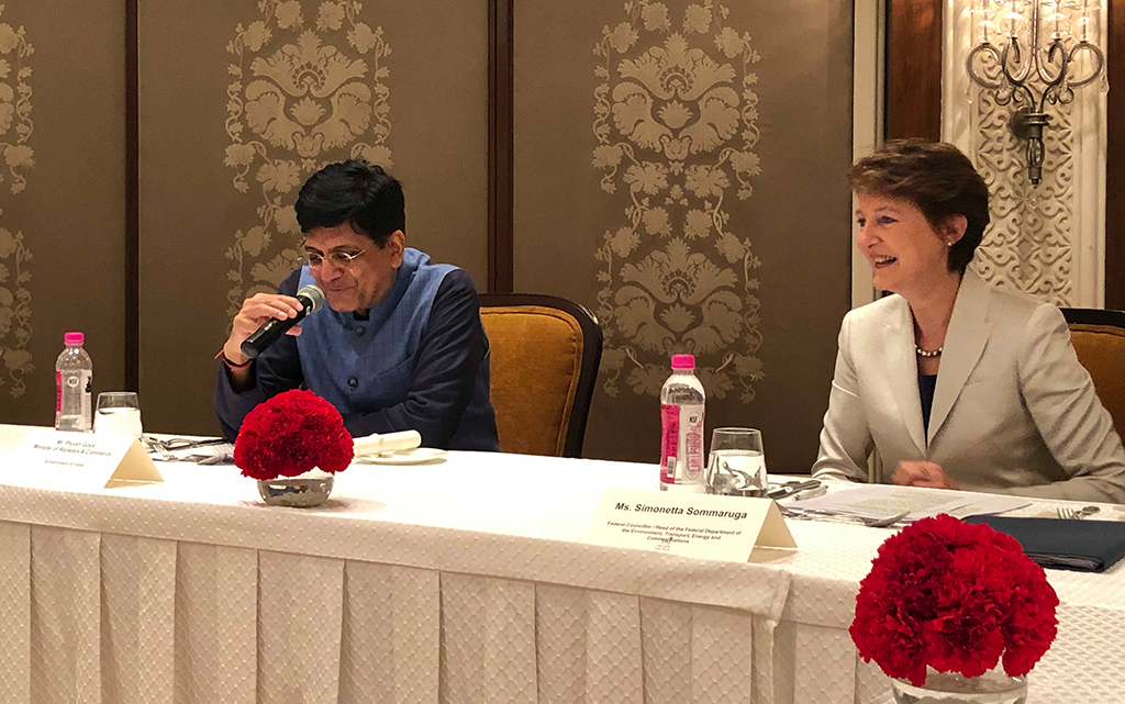 Federal Councillor Sommaruga and Piyush Goyal, Indian Minister of Railways